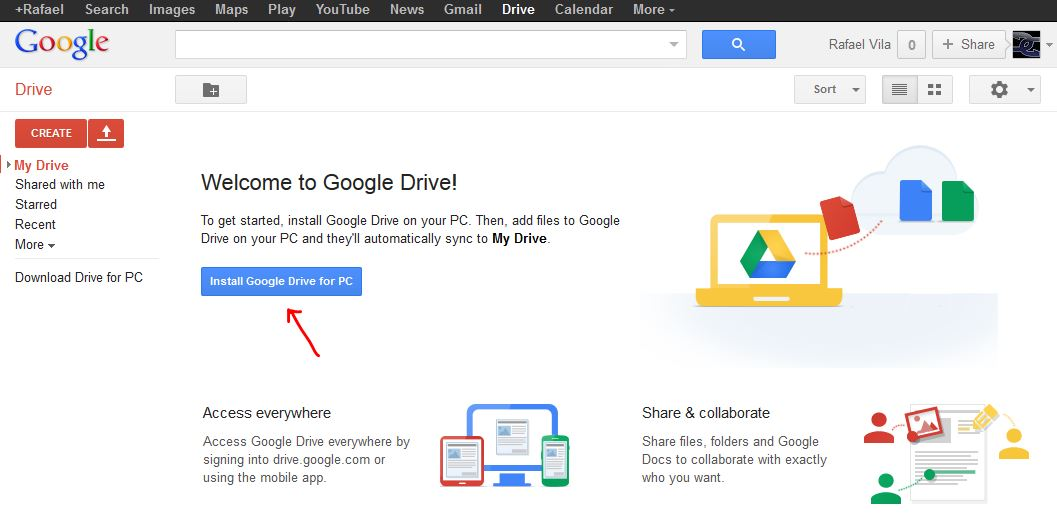 New Google Drive page