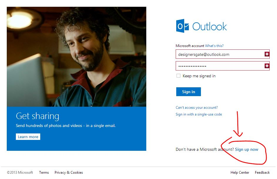Sign In to Outlook.com