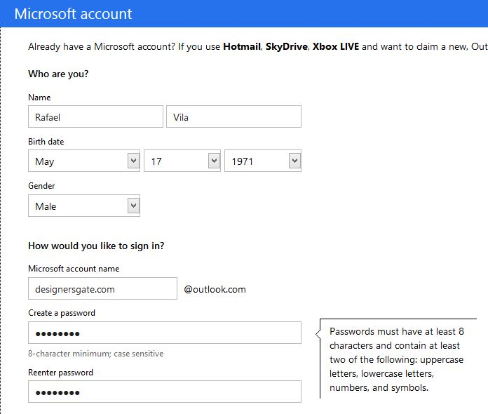 Outlook.com Sign Up Form